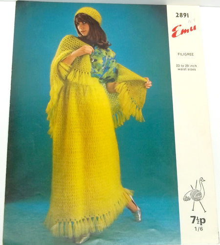 Vintage woman skirt, hat and shawl knitting pattern,leaflet by Emu no 2891,skirt knitting patter,hat knitting pattern,Emu knitting pattern