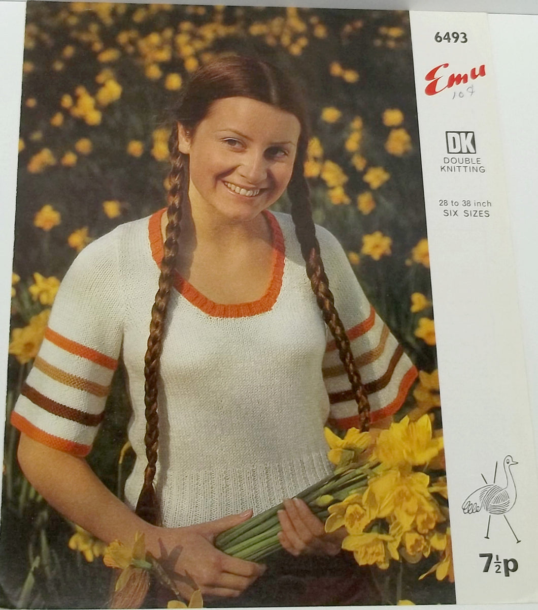 Vintage woman shirt knitting pattern size 28/38 by Emu no 6493,woman knitting pattern, knitting pattern,shirt knitting pattern