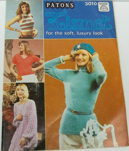 Vintage woman, teen knitting, crochet pattern book by Patons no 3010 tops, sweaters, halter tops, tunics, shawls, cardigan
