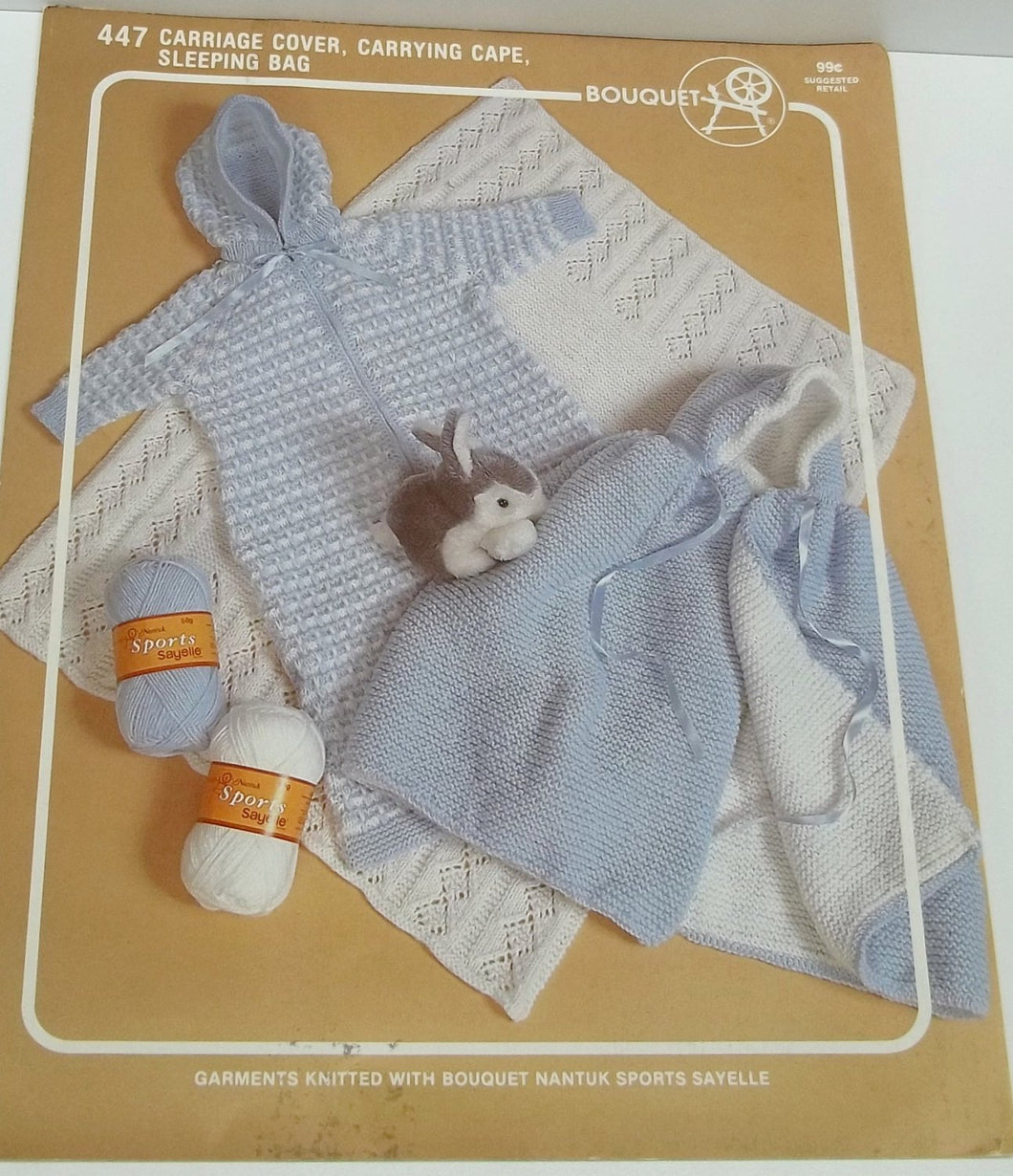 Vintage baby knitting patterns,leaflet Bouquet/447,knitting baby pattern,carriage cover,carrying cape,sleeping bag knitting patterns