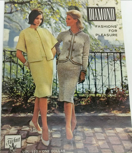 Vintage women knitting pattern book,knitting book, by Diamond Fashions for pleasure vol. 135, sizes 12 to 18