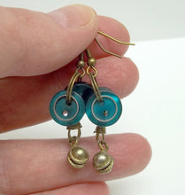 Turquoise button earrings,antiqued brass bells,turquoise earrings,antique brass earrings,turquoise buttons,button earrings,