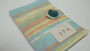 Striped blue cotton tea wallet,striped blue tea wallet,tea wallet,tea bag holder,tea bag caddy,travel teabag,eco-friendly,under 10 dollars,