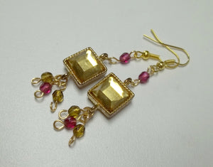 Gold Framed Square Bezel Gold Glass Dangle Earrings,gold crystal earrings,Bridal,Wedding,Bridesmaids Gift,Mothers day Gift,Birthday Gift