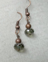 Laurel green AB Antiqued copper Czech Glass Faceted Fire-Polished Rondelle earrings,laurel green AB copper earring,Czech glass faceted beads