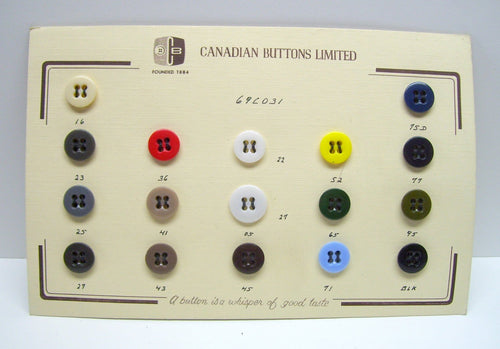 Vintage buttons,button card,Canadian Buttons Limited,high quality buttons,glass/plastic buttons,red/white/yellow/blue/brown/black buttons