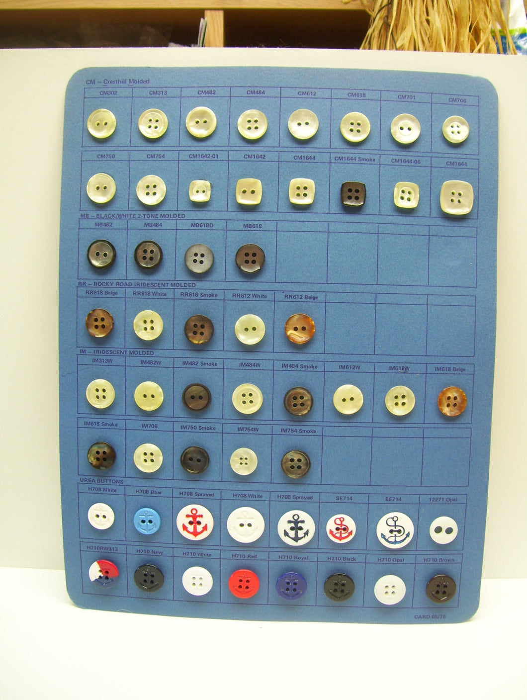Vintage button card 2/4 holes,buttons, nautical, white, blue, red,  anchor, translucent, black,brownish, orange