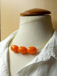 Deep orange resin bead necklace,white milk glass beads,gold chain,vintage beads,boho,gypsies,orange beads,orange necklace,women,teen