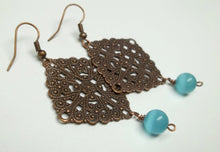 Antiqued copper square filigree earrings,square filigree earrings,antique copper filigree earrings,blue cat's eye dangle bead,copper earring