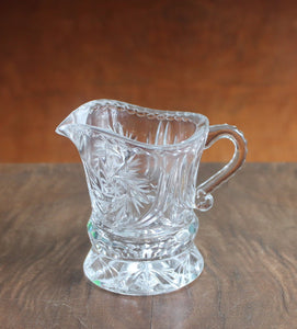 Vintage cut glass sugar pot and creamer,cut glass sugar pot,cut glass creamer,creamer,sugar pot,
