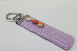 Lilac keychain,lilac crocheted keychain,orange fabric covered buttons,lilac crochet keyfob,crochet keychain,ecofriendly keychain