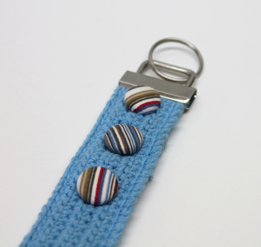 Turquoise crocheted keychain,turquoise keyfob,striped handmade buttons,handmade fabric covered buttons,