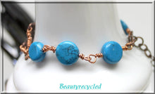 turquoise magnesite flat bead bracelet,antique copper celtic charm,antique copper cross charm,turquoise bead bracelet,copper charm bracelet