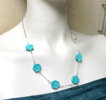 Turquoise flower bead necklace,turquoise necklace, turquoise flower beads,floral necklace,silver wavy connectors,turquoise flower necklace