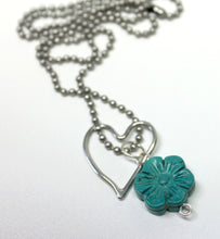 flower & heart necklace,turquoise flower necklace,heart necklace,heart charm,turquoise flower charm,silver heart charm,boho,gypsy,hippie