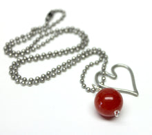 red glass bead heart necklace,silver heart charm necklace,red bead necklace,ball chain necklace,heart charm necklace,red glass bead necklace