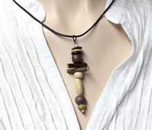 brown and cream wood pendant necklace,maple pendant necklace,brown beaded pendant,cream beaded pendant necklace,rustic,primitive necklace