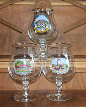 vintage footed glasses,3 German footed pint glasses,German footed glasses,German pint glasses,footed pint glasses,collection glasses