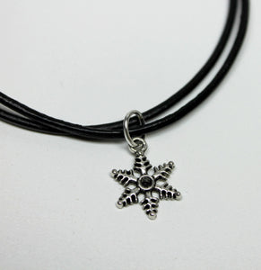 antique silver snowflake (1) charm necklace on leather cord,last minute gift,stocking stuffers,antique silver snowflake charm,snowflake