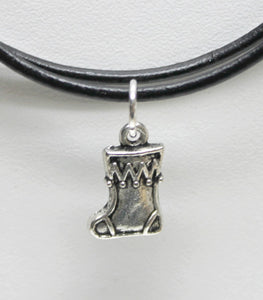 antique silver Christmas stocking charm necklace on leather cord,last minute gift,stocking stuffers,antique silver Christmas stocking charm,