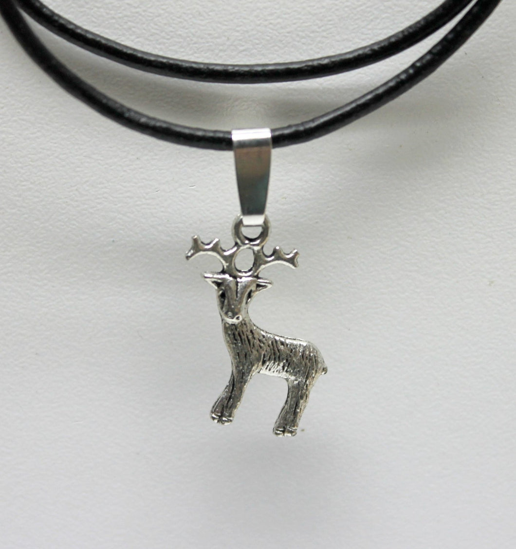 antique silver deer charm necklace,on leather cord,last minute gift,stocking stuffers,silver deer charm,deer charmnecklace,deer necklace