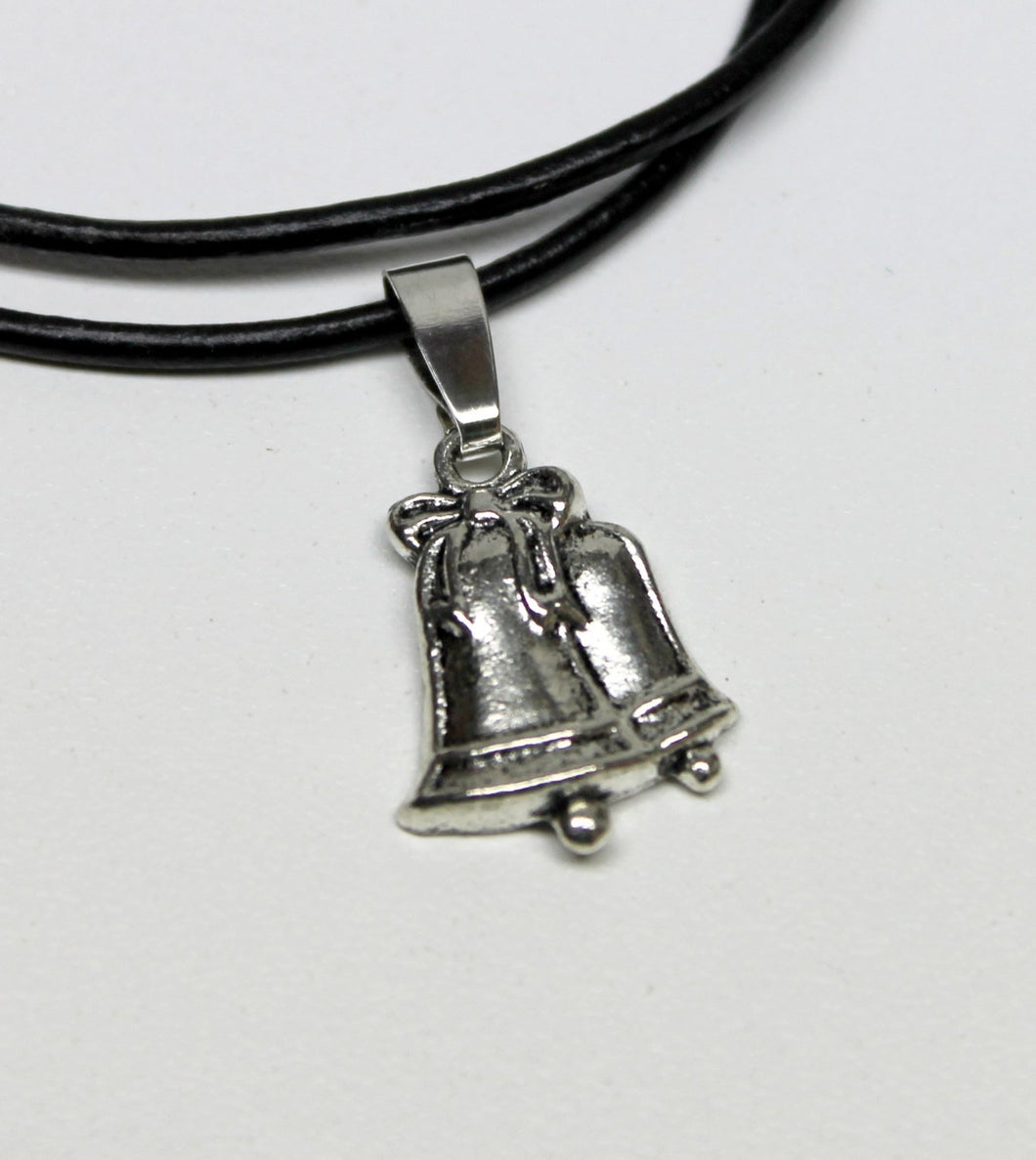 antique silver bells charm necklace,on leather cord,last minute gift,stocking stuffers,antique silver bells charm,silver bells charm,