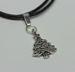antique silver Christmas tree charm necklace,on leather cord,last minute gift,stocking stuffers,antique silver Christmas tree charm,charm