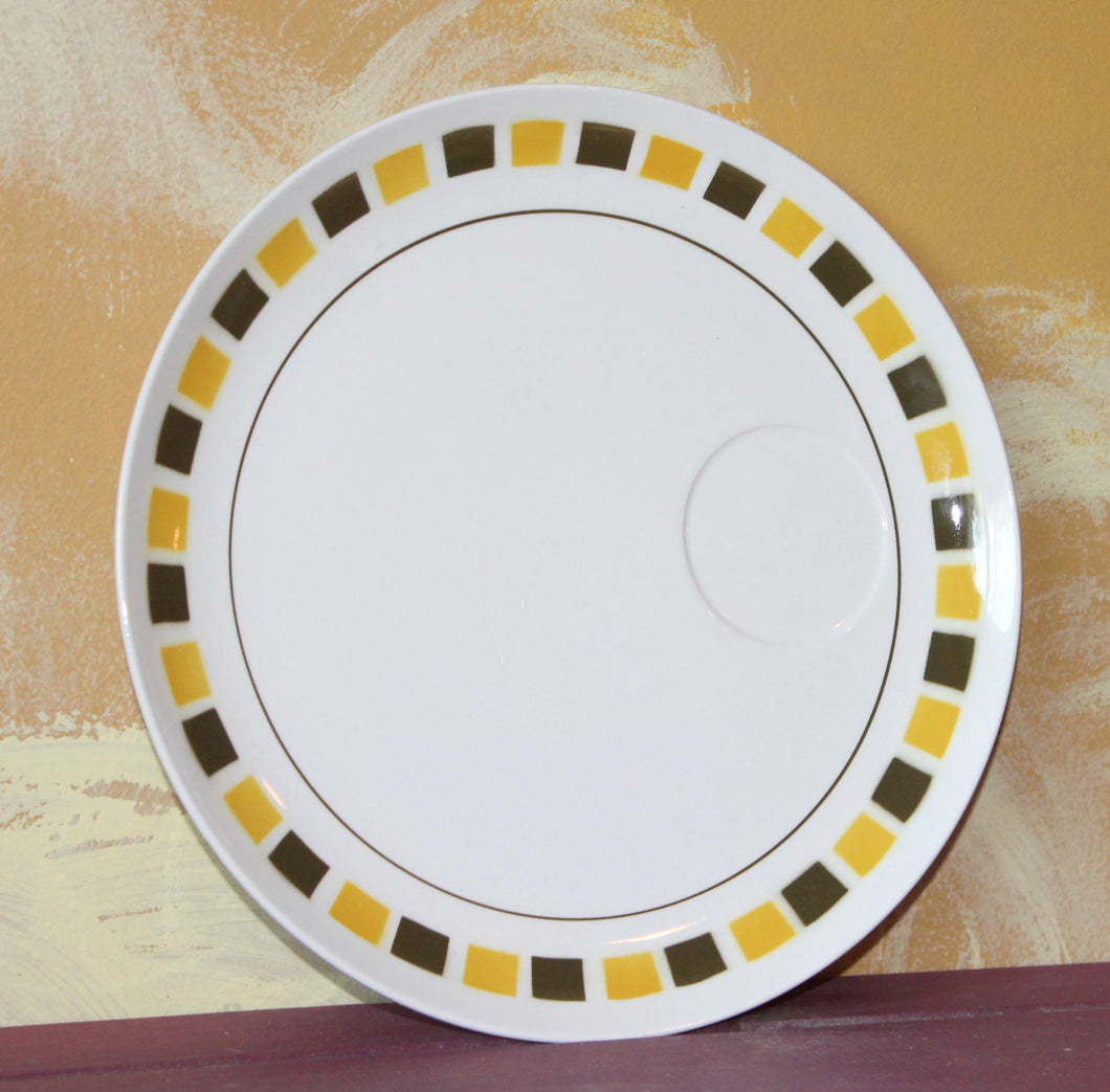 Vintage Mikasa Cera Stone Mirage 3121 Plate, yellow squares,brown squares,art deco,zen,white plate,japan,