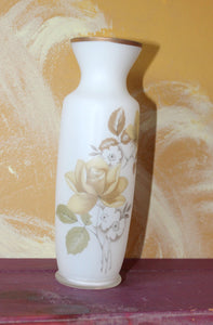 Vintage off white glass vase with beautiful roses on the vase unique vase