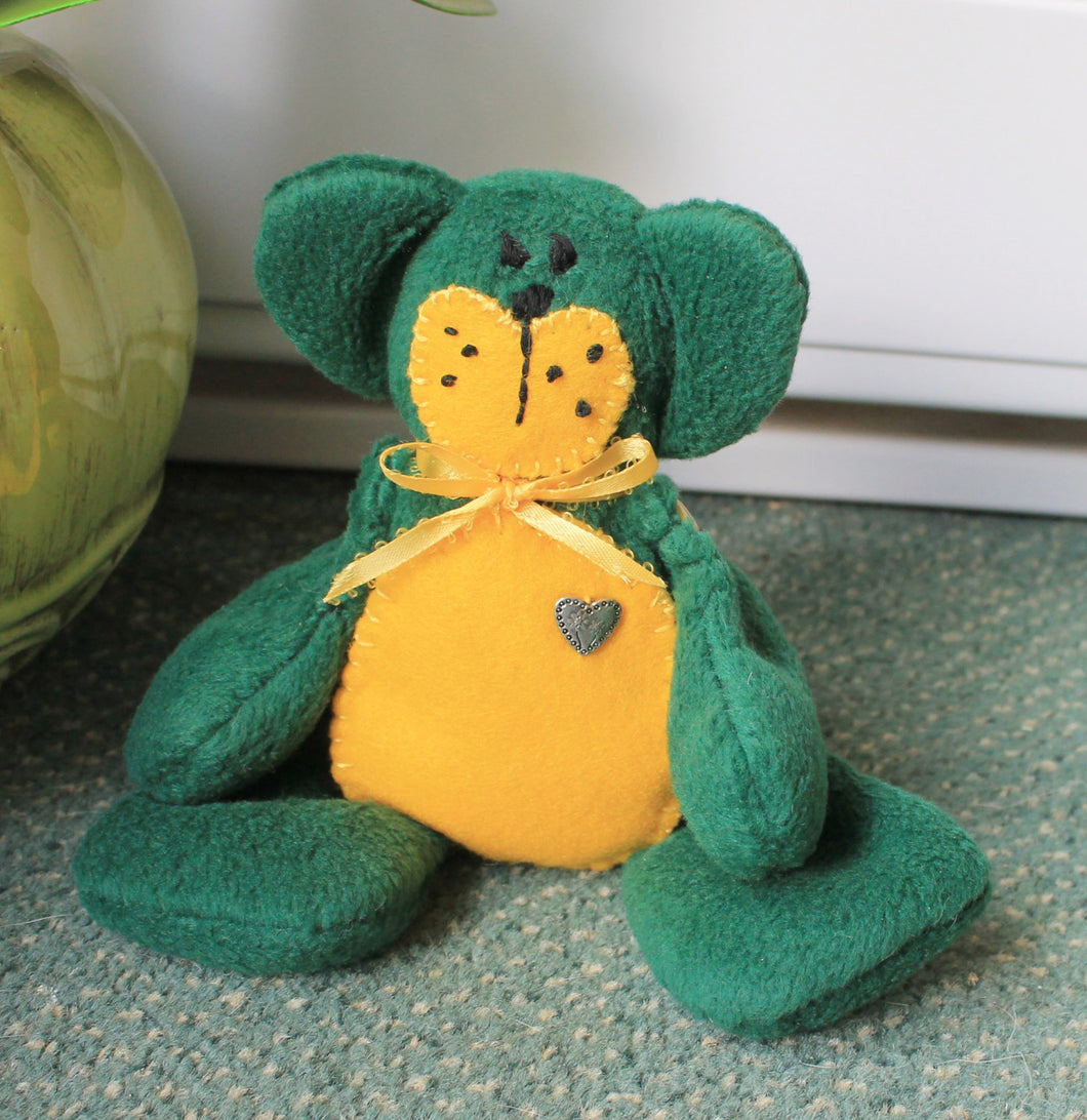 Green/yellow fleece beanie teddy bear,plush beanie teaddy bear,green teddy bear,green beanie teddy bear,green plush teddy bear.