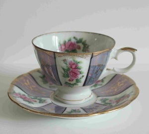 Beautiful violet vintage Japanese porcelain Tea cup and saucer-B-953 Japan-with rose design and scalloped gold edges-scalloped edged saucer-