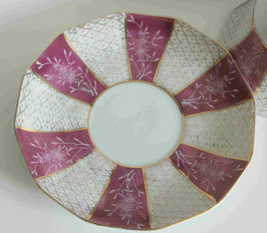 vintage pink opalescent porcelaine Japanese Tea cup and saucer-B-953 Japan-gold scale designs-gold handle