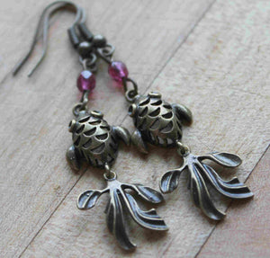 Koi fish earrings,purple swaroskie koi fish earrings,antique brass koi fish earrings,antique brass koi fish,koi fish,purple swaroskies,