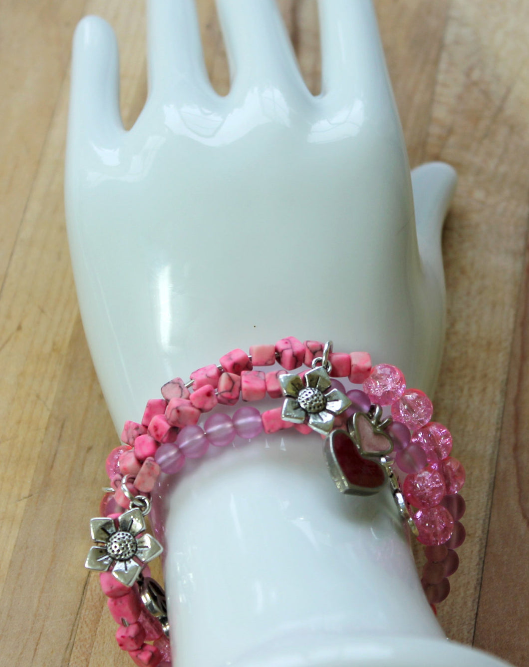 pink wrap bracelet,breast cancer charm bracelet,pink magnesite square beads wrap bracelet,pink glass beads,pink crackle beads,silver charms