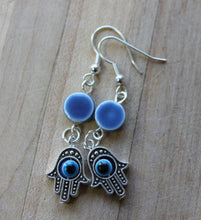 hamsa hand evil eye earrings,hand of Fatima dangle earrings,blue ceramic bead earrings,evil eye earrings,hamsa hand earrings,hand earrings,