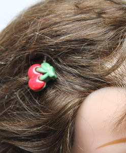 red double cherrie hair bobby pins,cherry silver hair bobby pins,double cherries,women,teens,girls,surprise bags,costume party,cherry pins