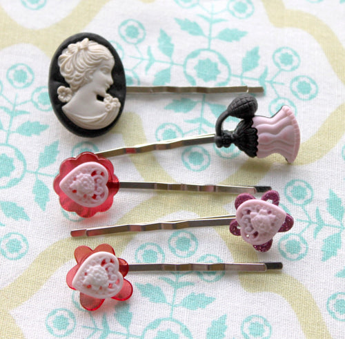 pink/black hair hair pins,silver hair pins,Pink heart hair pin,cameo hair pin,perfume bottle hair pin,women,teens,romantic,surprise bag,