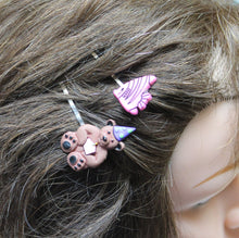 4 hair bobby pins,cat-bear-bee-fish,hair pins,recycled button hair accessories,button charm hair pins
