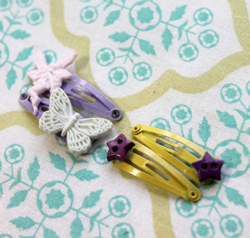 4 baby yellow-purple snap hair clips,fairy-butterfly-stars snap hair clips,baby hair accessories,snap hair clips