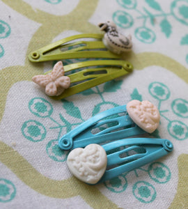 2 blue-2 green baby snap hair clips,butterfly,duck-heart-butterfly-baby snap hair clips,baby hair accessories, baby snap hair clips