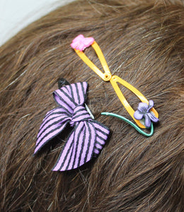 3 baby snap hair clips,purple/black striped bow,orange snap hair clips,bow snap hair clip,hair accessory,baby hair accessory
