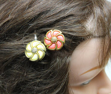2 vintage cream/pink golden hair pins,silver hair pins,hair pins,orange hair pins,cream hair pins,women, teens,vintage buttons,gifts