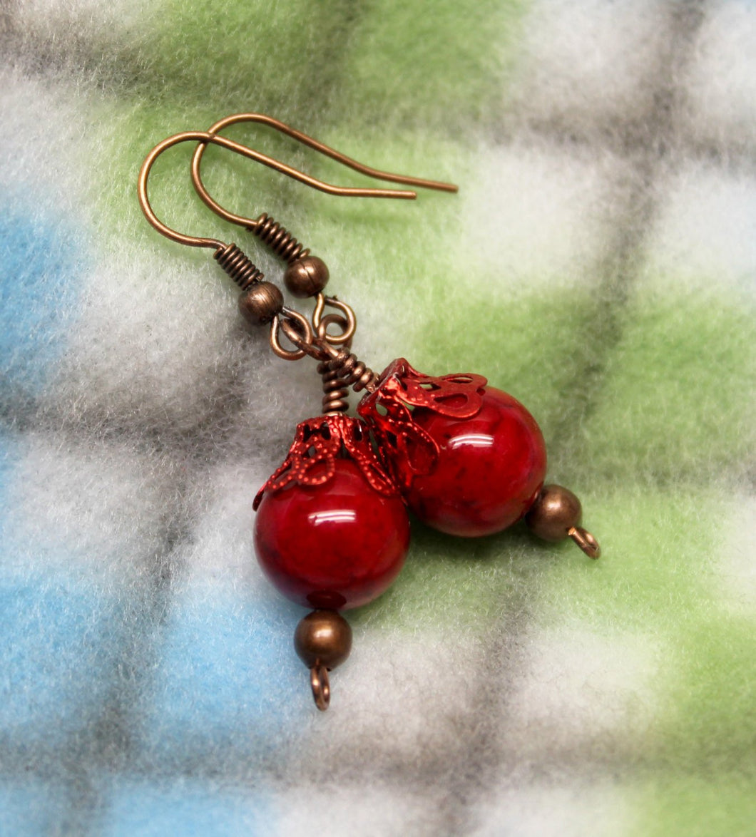 red stone bead earrings,red stone beads,red bead earrings,red stones,antique copper earrings, antique copper,women,teen,Christmas,gift