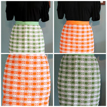 vintage white/green plaid apron,white/orange plaid apron,plaid apron,green apron,orange apron,gifts,cooking,baking,Bar-B-Q