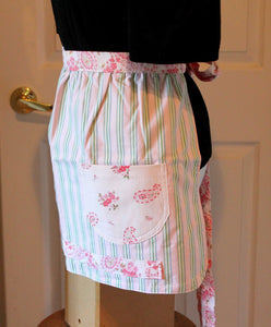 Upcycled Pink Apron w/pockets,O/S,pink half apron,half apron,cotton half apron,cotton apron,pink apron,cooking,baking,Eco-Gift