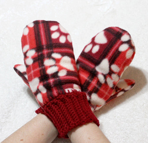 Red plaid handmade fleece mittens,crocheted wrists,fleece lined mittens,fleece mittens,winter,women,men,dog paw prints,Eco-Friendly