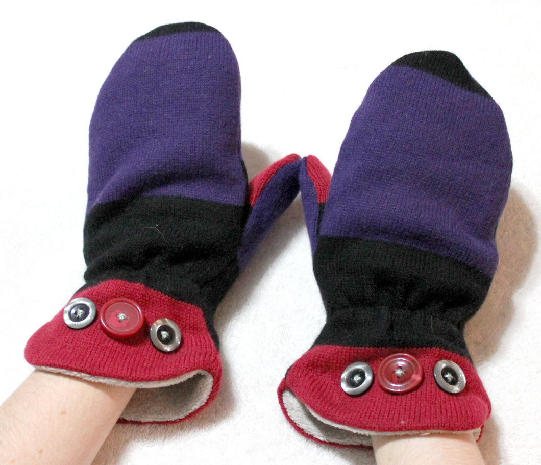 Purple black/red handmade fleece mittens,handmade lined fleece mittens,lined fleece mittens,O/S,women,men,teens,Eco-Friendly,upcycled,