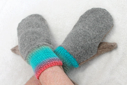 Gray/turquoise felted wool sweater mittens,wool felted mittens,gray wool mittens,turquoise handknitted wrists,Eco-Friendly,women,teen