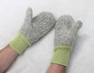 Green/gray/lime felted wool sweater mittens,hand knitted wrists,green wool mittens,gray wool mittens,lime handknitted wrists,Eco-Friendly