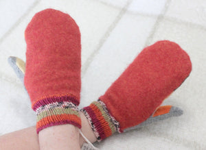 Red/gray felted wool sweater mittens,hand knitted wrists,red/gray wool mittens,red/green/black handknitted wrists,Eco-Friendly,women,teen